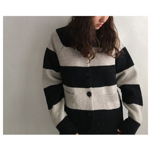 strip cardigan(charcoal&putty)