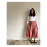 R&D.M.Co- mesh linen tuck skirt