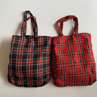 R&D.M.Co-  linen tartan check bag